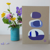 Original Collage Art Card - eco friendly blank greetings card Stacks Series No 4