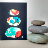 Original Collage Art Card - blank greetings card Stacks Series No 15