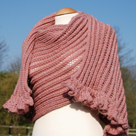 Handknitted Old Rose Soft Plum Lace Shawl with Bell Trimmings