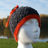 Sweetbag grey and orange handknitted hat