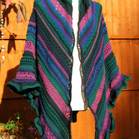 Yorkshire Moors Pine and Heather Hand Knitted Generous Shawl