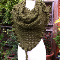 Moss green crochet shawl