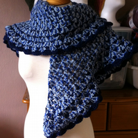 Warm and comforting blue merle crochet shawl