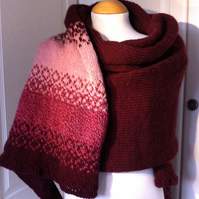 Hand knitted pink and maroon warm soft woollen shawl