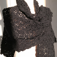 Black Wool Handmade Crochet Shawl