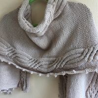 Handknitted Cable Shawl in soft taupe wool