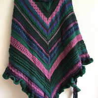 Yorkshire Moors Pine and Heather Hand Knitted Generous Lace and Ridges Shawl