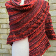 Hand-knitted Textured Comforting Shawl in Soft Self-patterning Red to Black Wool