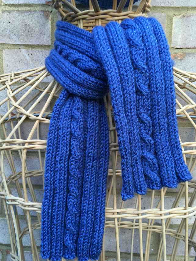 Slate blue hand knitted cable scarf and hat unisex