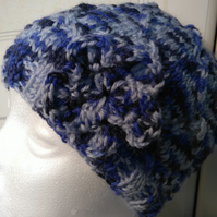 Blue Merle Diamond Lace Handknitted Hat