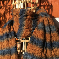 Unisex Hand Knitted Textured with cables scarf wrap in soft gold and denim yarn