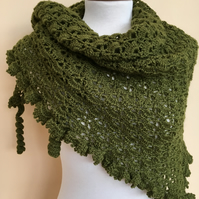 Moss green crochet shawl hand made in soft 4-ply wool with ruffled edge