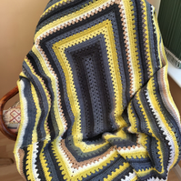 Handmade Crochet Mustard Yellow, White and Grey Blanket