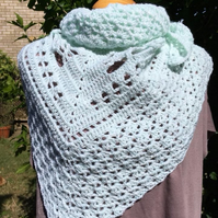 Hand Crafted Soft Mint Aquamarine Blue Triangular Shawl Scarf