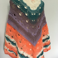 Handmade shawl in mandala yarn