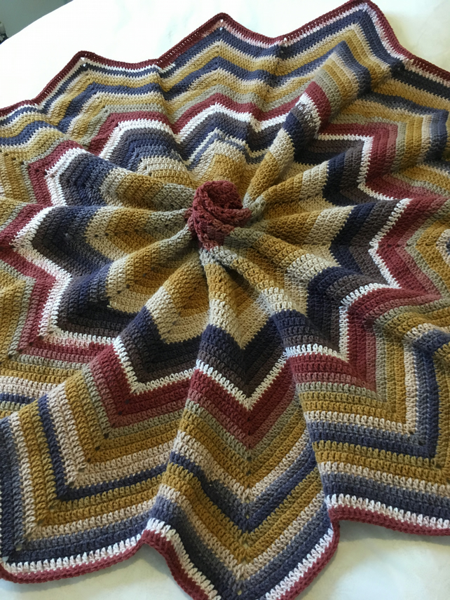 Star blanket handmade in Earthy colours