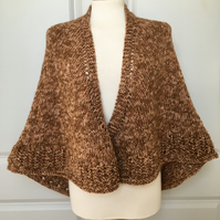 Generous and Squishy Hand Knitted Brown Sugar Shawl