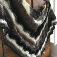Hand knitted Old Shale Lace Shawl