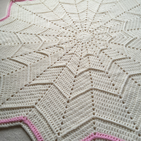 SALE   Handmade Star Blanket in cream and pink