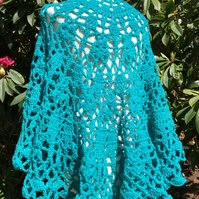 Crescent shaped handmade shawl in vibrant jade green