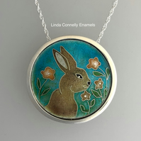 Bunny and Flower silver and enamel necklace