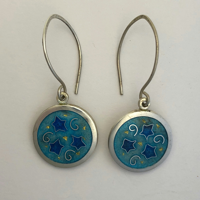 'Indian Memories' silver and cloisonné enamel earrings.