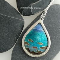 Seaside enamel and silver pendant