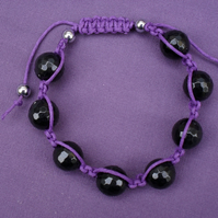 Black and Purple Macrame Bracelet