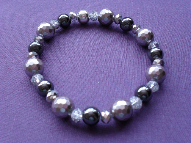 Shell Pearl,Crystal and Hematite Bracelet