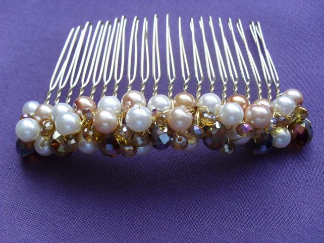 Gold  and Cream Hair Comb HC015