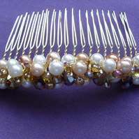 SALE Gold  and Cream Glass Pearl and Crystal Hair Comb
