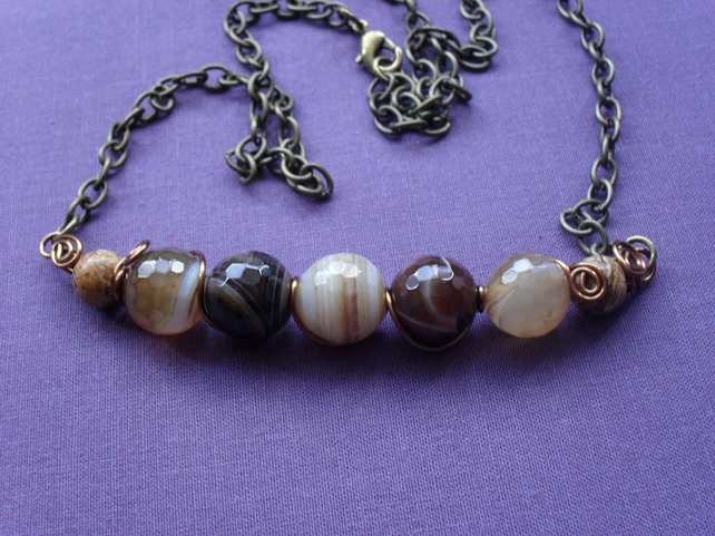 Shades of Brown Bar Necklace