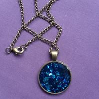 Sale Blue Resin Pendant RE 003 Vintage