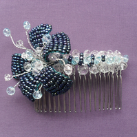 SALE Blue Flower and Crystal Hair Comb HC019