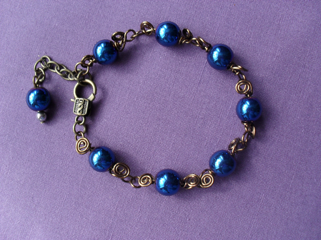 Blue Haematite Wire Wrapped Bracelet