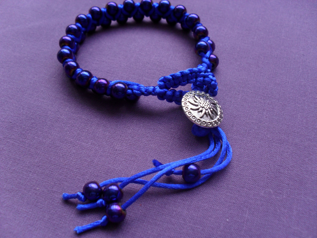 Blue Coated Haematite Bracelet