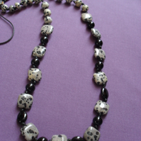 Dalmatian Jasper and Black Onyx Knotted Necklace