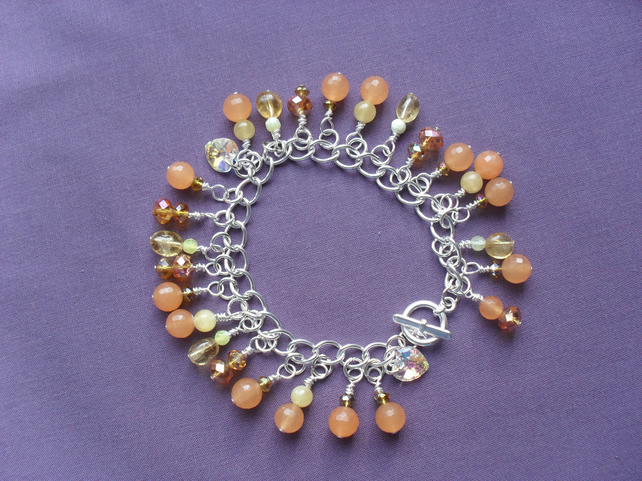 Orange and Yellow Charm Style Bracelet