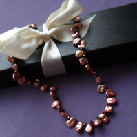Keishi Pearls and Garnet Necklace