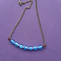 Blue Glass Bead Bar Style Necklace