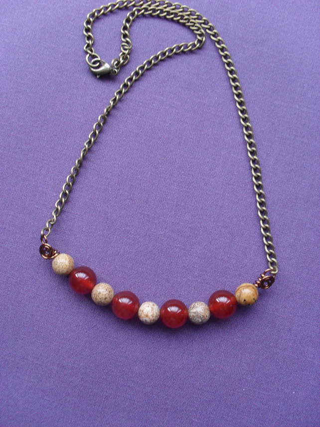 Picture Jasper and Agate Bar Style Necklace