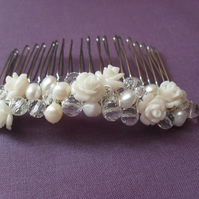 Freshwater Pearl and Flower Hair Comb HC014
