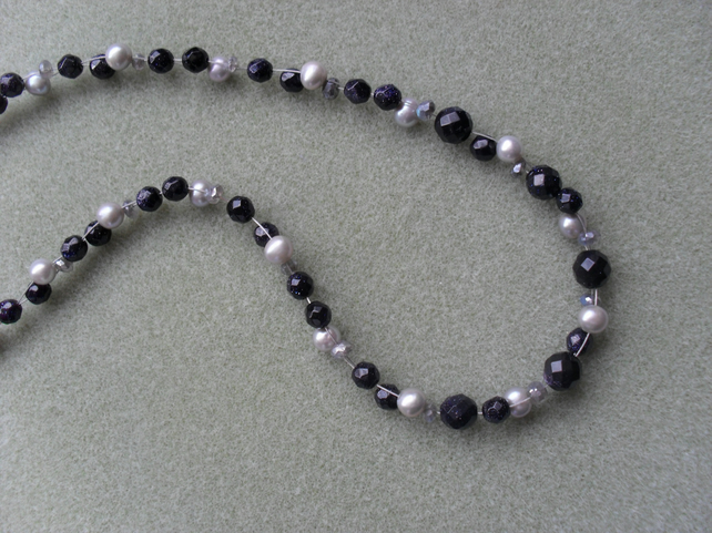 Sterling Silver Pearl, Labradorite and Blue Goldstone Necklace