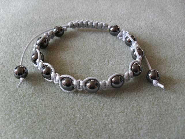 Haematite and Silver Cord  Macrame Bracelet