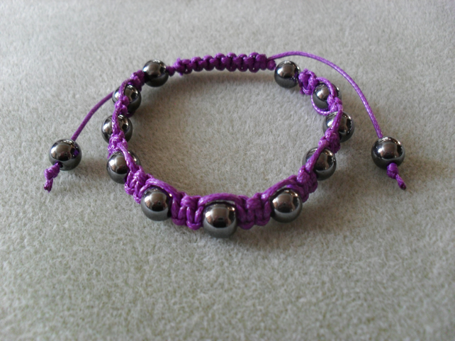 Haematite and purple cotton Macrame Bracelet