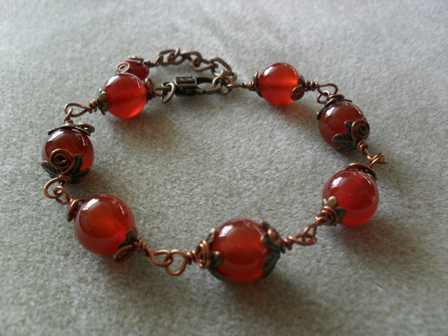 Agate and Bronze Bracelet