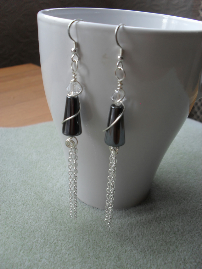 Haematite and Swarovski Crystal Earrings