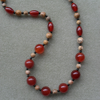 Sterling Silver Picture Jasper and Agate Necklace