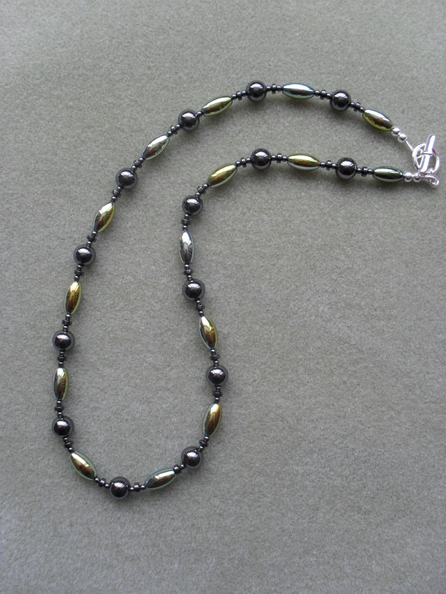 Green  and Gold Haematite Necklace