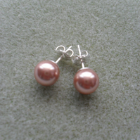 Sterling Silver Rose Gold Coloured Pearl Earrings With Pearls From Swarovski